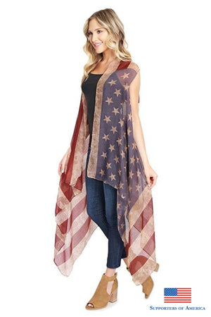 American Flag Cardigan July 4Th Usa Stars And Stripes Pattern Lightweight Shawl Kimono Vest