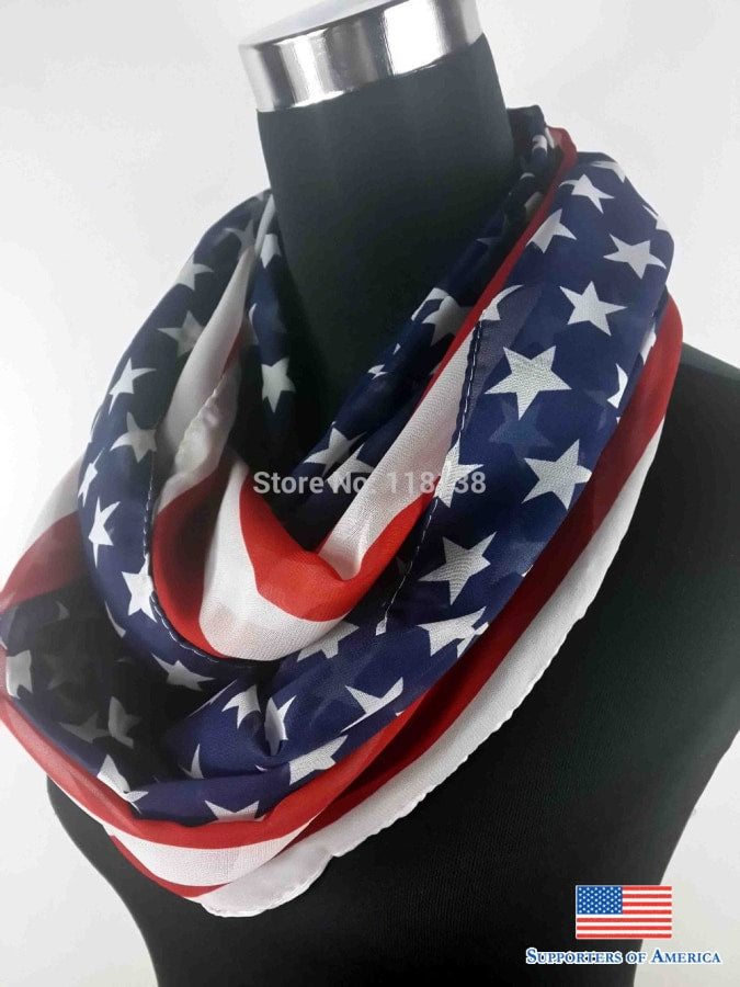 American Flag Stars Stripe Print Infinity Chiffon Scarf Snood Cowl Loop Womens Accessories Gift For