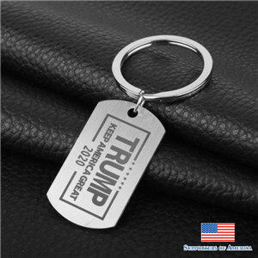 American Stainless Steel Keychain Trump Dog Tag Pendant Keyring Men Creative Key Holder Accessories