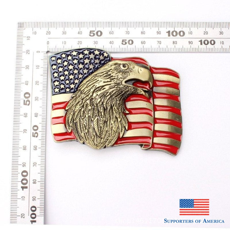 American Flag And Eagle Belt Buckle