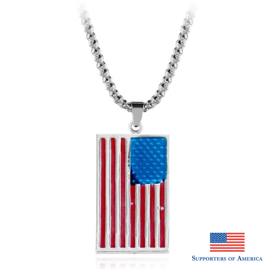American Flag Pendant Necklace Flag Usa Patriot Freedom Stars And Stripes 4Th Of July Dog Tag