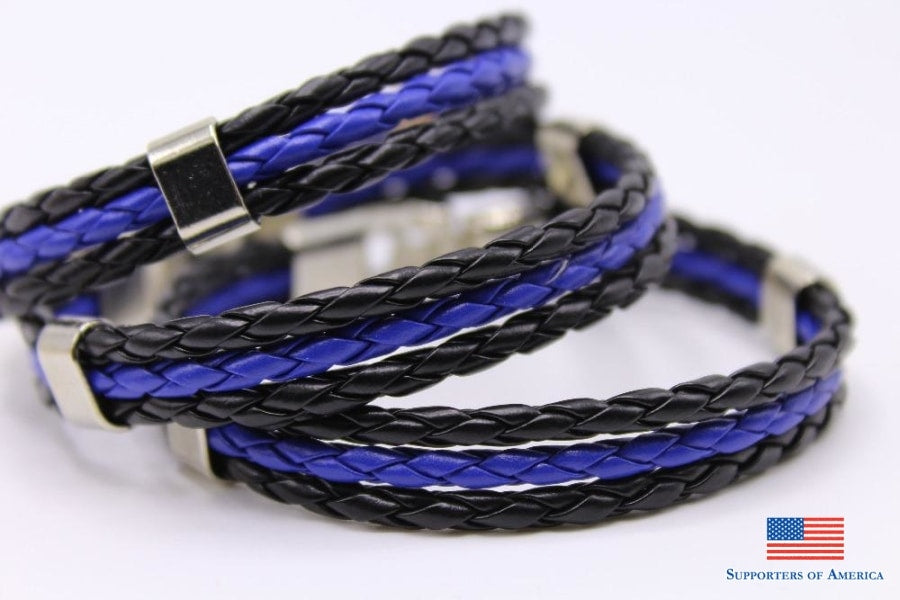 Support Police Leather Bracelet