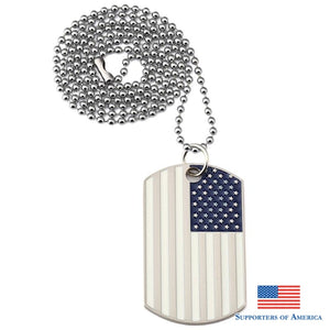 White US Flag Dogtags