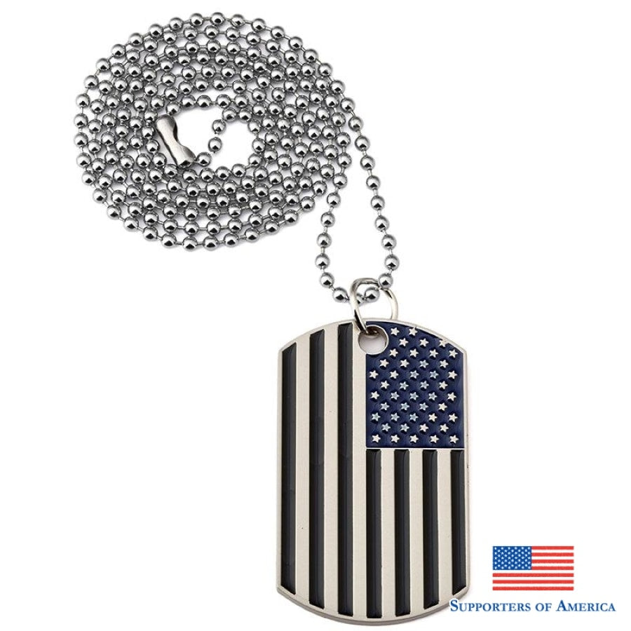 Black Us Flag Dogtags