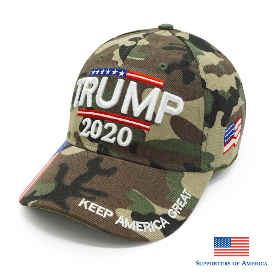 High Quality Trump 2020 Hat Usa Flag Camo Baseball Cap 3D Embroidery Keep America Great Camouflage