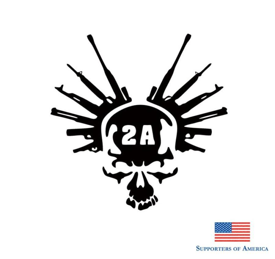 Langru 2Nd Amendment Gun Vinyl Decal Sticker Truck Window Car Laptop White Skull Stying Jdm