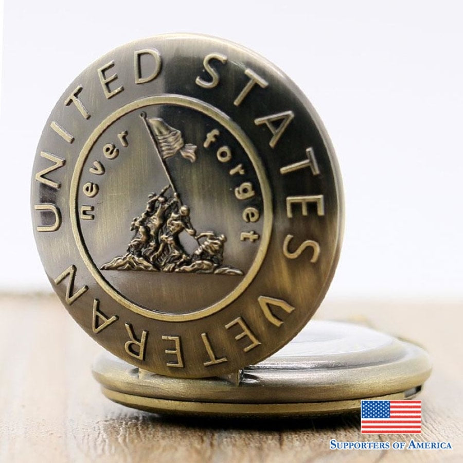 United States Veteran - Never Forget Pocket Watch Necklace Jewlery