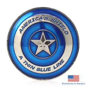 Thin Blue Line Lives Matter Police Americas Shield Commemorative Challenge Coin Back