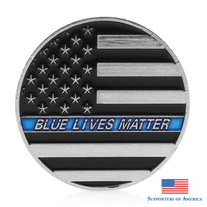 Thin Blue Line Lives Matter Police Americas Shield Commemorative Challenge Coin Front