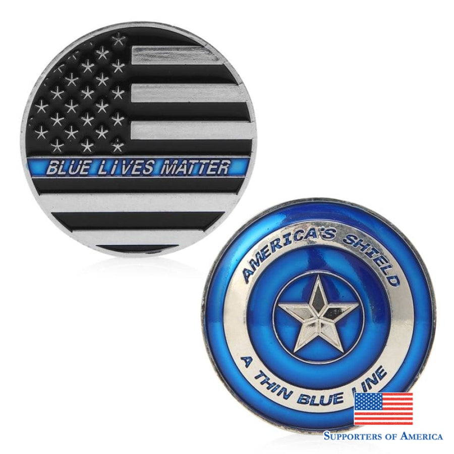 Thin Blue Line Lives Matter Police Americas Shield Commemorative Challenge Coin