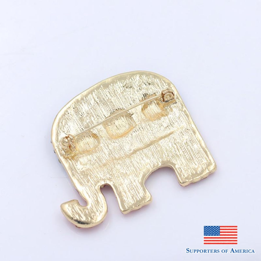 Weimanjingdian Red And Blue Rhinestones Elephant Flag Brooch Pins For Women Or Ornament Jewelry