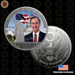 Wr New Festival Gift Colored The George H. W. Bush Coin Silver Plated 41Th America President Art