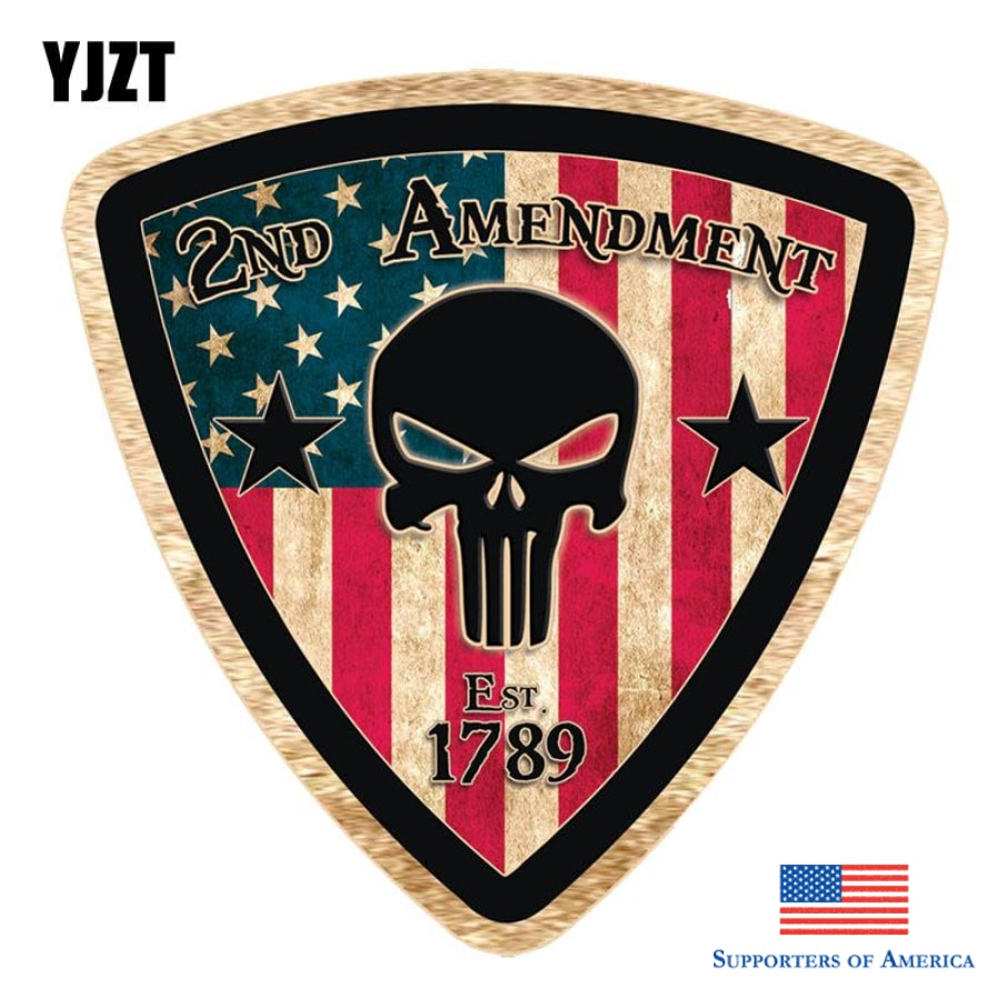 Yjzt 10.2Cmx10.2Cm Rustic 2Nd Amendment Punisher Skull Funny Car Stickers Decorated With Motorcycle