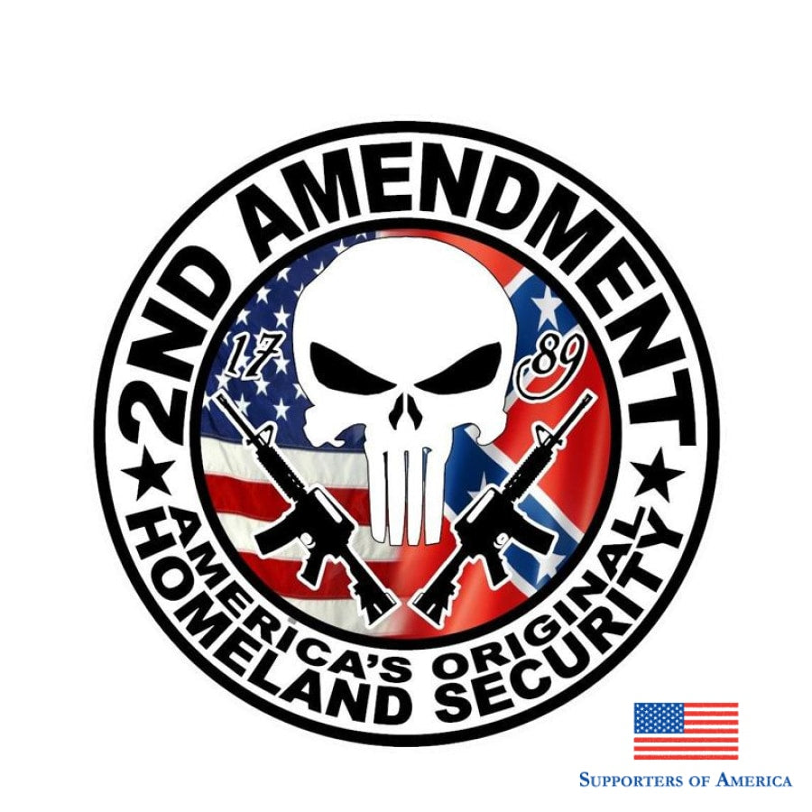 Yjzt 13Cm*13Cm American Flag Car Sticker Skull 2Nd Amendment Gun Decal 6-1103