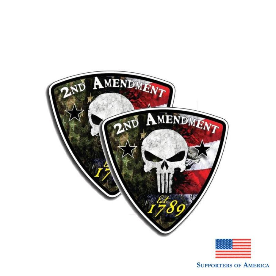 Yjzt 2X 9Cm*9Cm 2Nd Amendment Punisher Skull 1789 Car Sticker Decal Pvc Accessories 6-0137