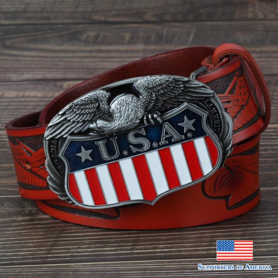 Usa Eagle Belt Buckle Genuine Leather Mens Casual