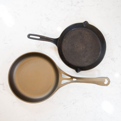Solidteknics wrought iron pan with cast iron skillet