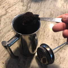 Mark from London loves making his daily coffee with his french press.