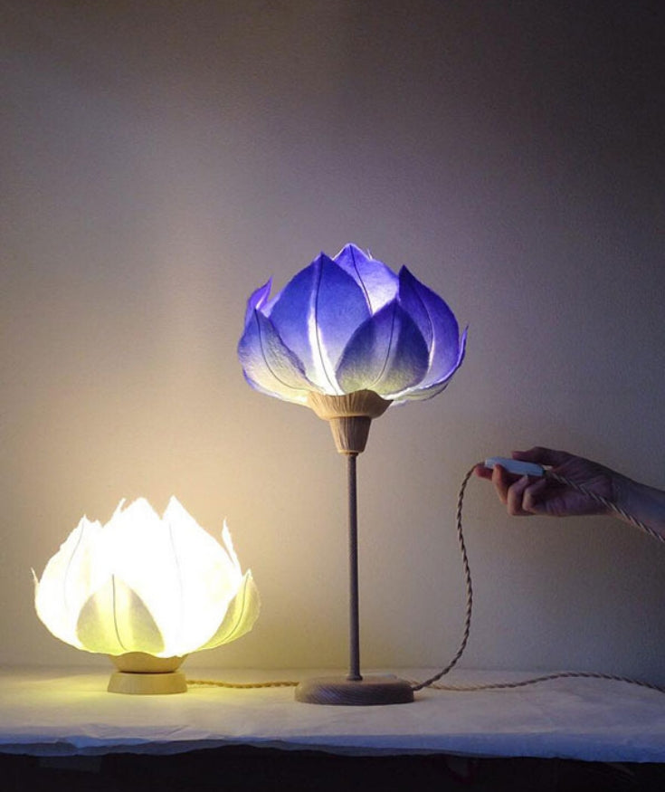 Blue flower desk lamp made from washi paper