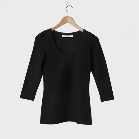 Women's Fitted 3/4 Sleeve Scoop Neck - BuyMeOnce Direct - BuyMeOnce UK