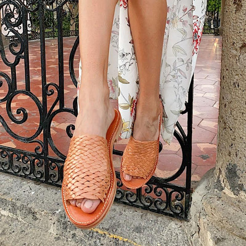 Laura Woven Leather Slippers, Cognac - BuyMeOnce Direct - BuyMeOnce UK