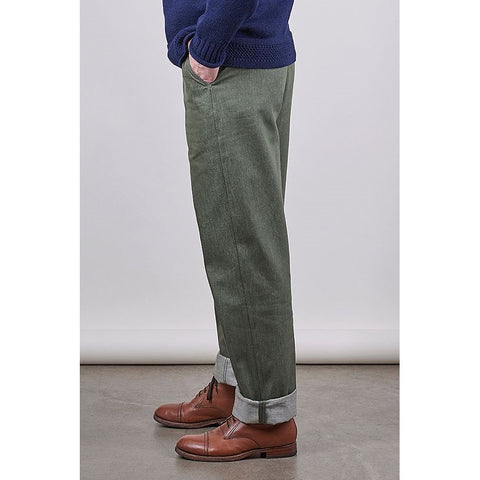 Unisex SW1 Relaxed Trousers, Green 11oz Italian Denim - BuyMeOnce Direct - BuyMeOnce UK