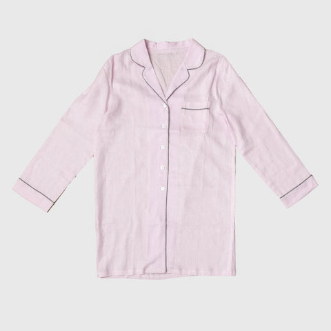 Blush Pink Linen Night Shirt