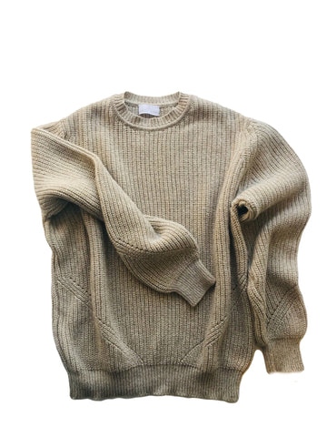 Fisherman's Rib Recycled Cashmere Sweater, Caramel Marl