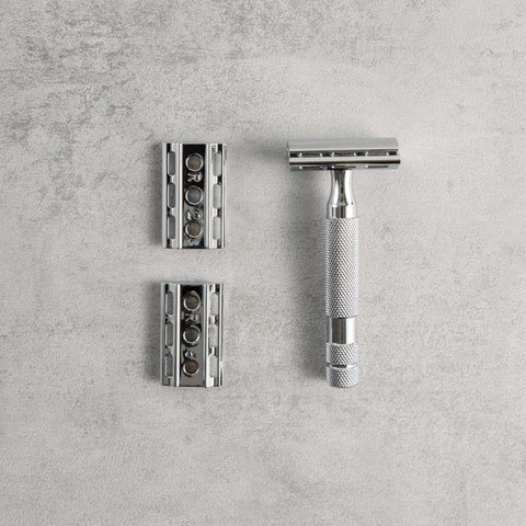 6C Safety Razor, White Chrome