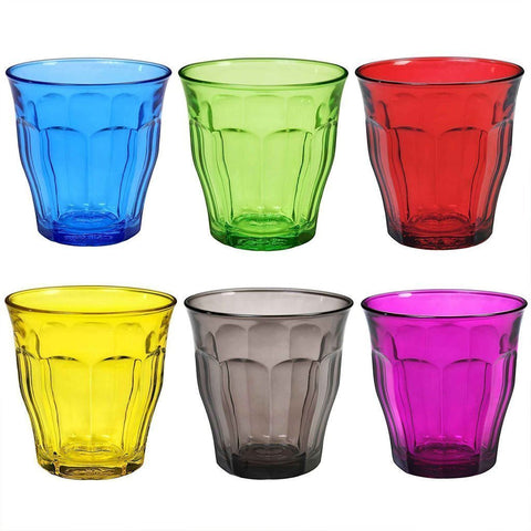 Picardie Coloured Glass Tumblers, 250ml, Mixed Set of 6 Colours