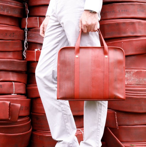 Elvis & Kresse Reclaimed Fire Hose Compact Briefcase, Red | BuyMeOnce