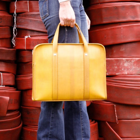 Elvis & Kresse Reclaimed Fire Hose Compact Briefcase, Yellow | BuyMeOnce