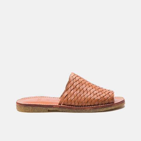 Laura Woven Leather Slippers, Cognac