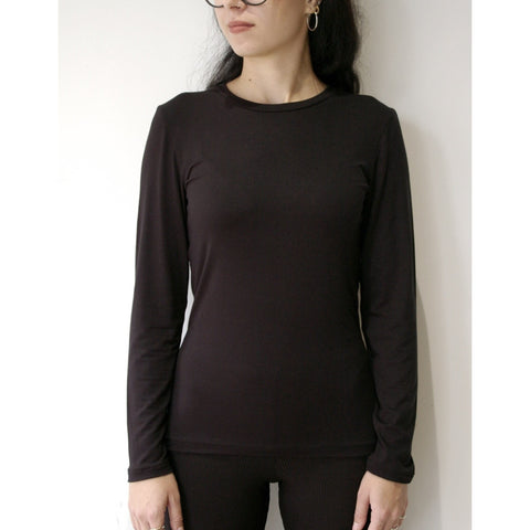 Organic Bamboo Long Sleeved Top, Black/White