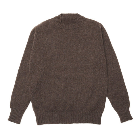Lambswool Chunky Knit Crew Neck Jumper, Brown