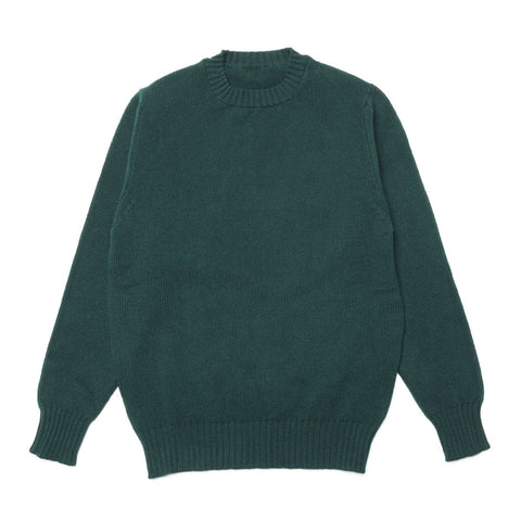 Lambswool Chunky Knit Crew Neck Jumper, Green