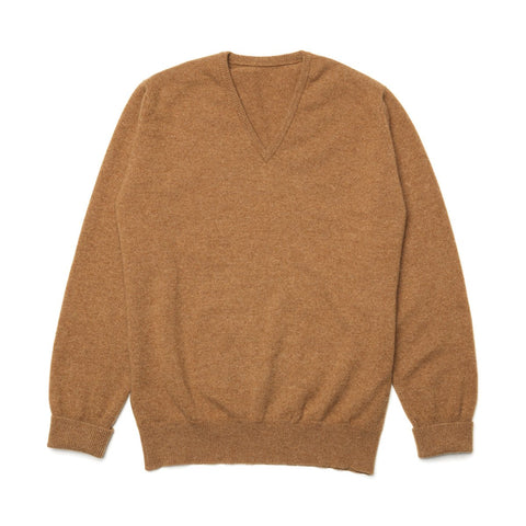 Lambswool Fine Knit V Neck Jumper, Camel