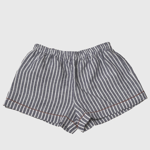 Midnight Stripe Linen Pyjama Shorts Set