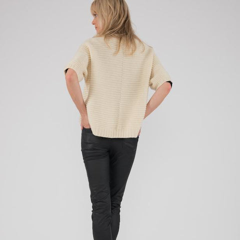Ally Bee Poncho Jumper Ecru Cream Wool | BuyMeOnce