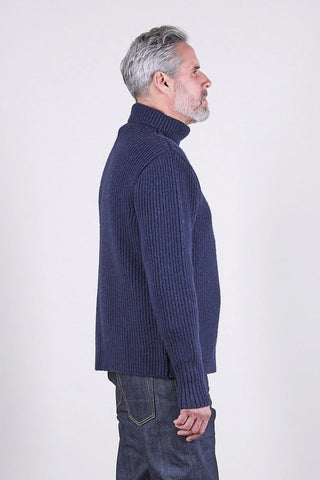 SE2 British Wool Roll Neck Unisex Sweater, Navy