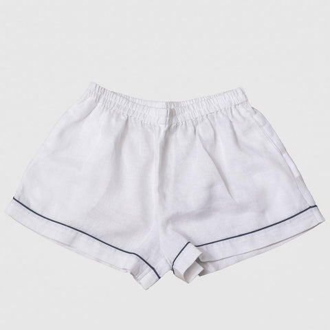 White Linen Pyjama Shorts Set