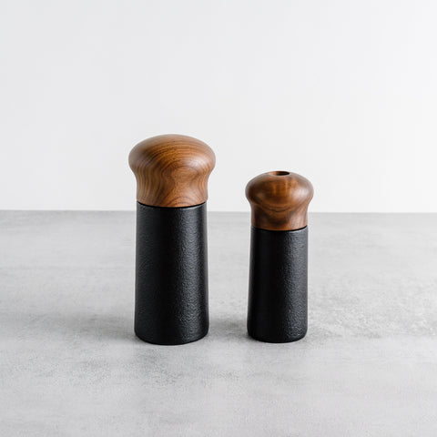 Cast Iron Pepper Grinder with Walnut Lid