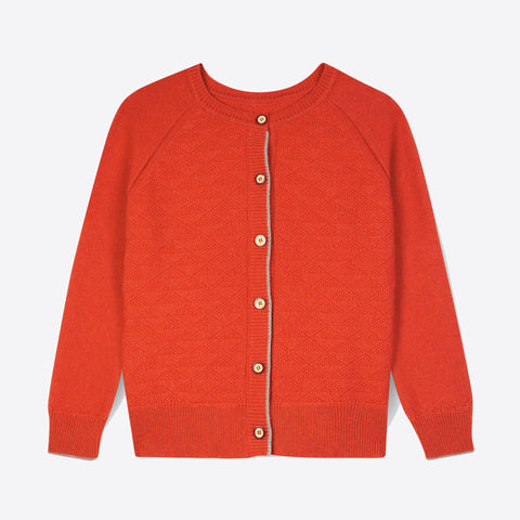 100% Recycled Cashmere Jumpigan, Tomato
