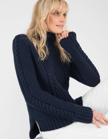 Hand Knit Crop Chevron Sweater, Blue Navy