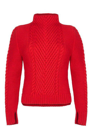 Ally Bee Hand Knitted Cable Knit Chevron Sweater Red Flame