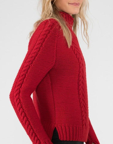 Hand Knitted Cable Knit Chevron Sweater, Red Flame