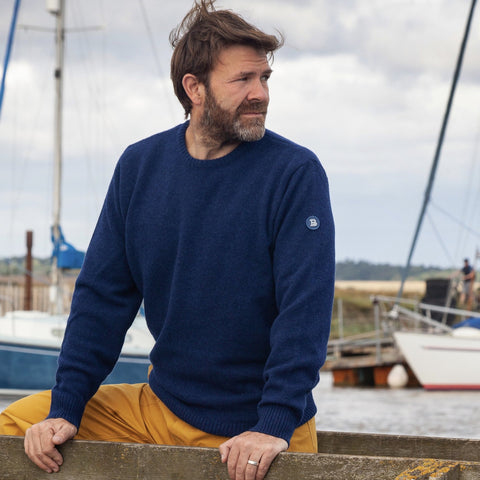 Crewman Lambswool Ocean Blue Sweater
