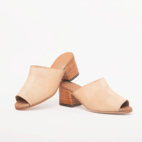 Marisol Open Toe Leather Mules, Beige Suede - BuyMeOnce Direct - BuyMeOnce UK