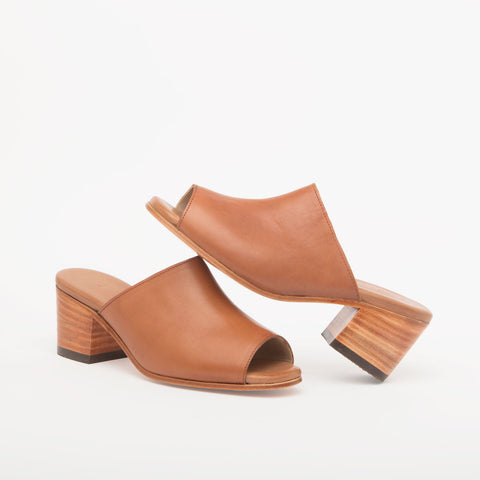 Marisol Open Toe Leather Mules, Cognac - BuyMeOnce Direct - BuyMeOnce UK