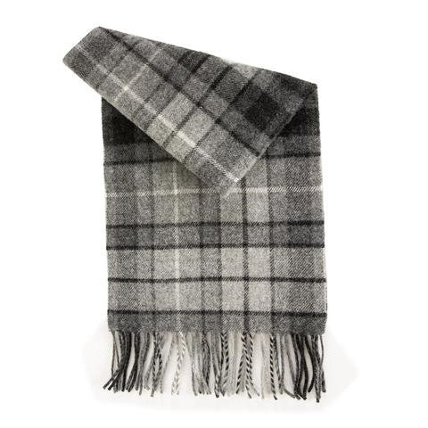 Lambswool Tartan Scarf, Grey Buchannon